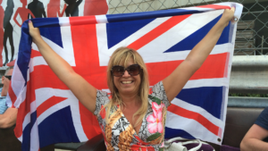 Mim With Flag In Pit Lane